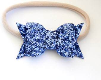 Periwinkle Glitter Bow Headband - Baby Bow Headband - Glitter Bow Headband  - Blue Bow Headband - Lavender Glitter Headband 978ee7df637