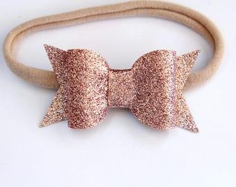 3e244a8ae5bd Rose Gold Bow Headband - Rose Gold Glitter Bow - Gold Glitter Bow Headband  - Baby Bow Headband - Nylon Headband