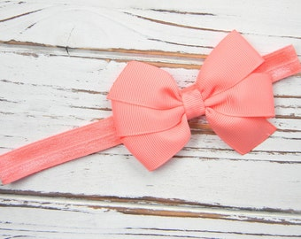 Newborn Headband Preemie Headband Coral Pink Bow White Headband Coral Pink and White Chevron Print Headband Coral Pink Headband