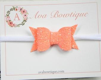 Cantalope Glitter Bow Headband -  Glitter Bow Headband - Baby Glitter Bow Headband - Baby Orange Bow Headband