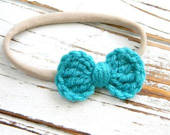 Baby Bow Headband -  Turquoise Bow Headband - Crochet Bow Headband - Turquoise Crochet Bow Headband - Nylon Headband