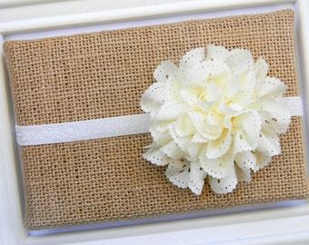 Ivory Eyelet Satin Headband - Baby Ivory Headband - Ivory Eyelet Headband