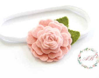 Blush Flower Headband - Blush Baby Headband - Baby Flower Headband -  Nylon Headband - Baby Felt Flower Headband