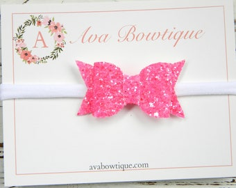 Watermelon Glitter Bow Headband -  Glitter Bow Headband - Baby Glitter Bow Headband - Baby Watermelon Bow Headband