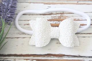 White Bow Headband - White Bow Hair Clip - White Glitter Bow Headband - White Iridescent Bow Headband - Baby Bow Headband - Nylon Headband
