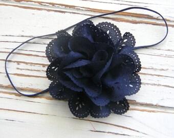Navy Eyelet Satin Headband - Baby Headband - Navy Eyelet Headband - Navy Flower Headband