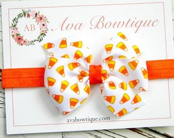 Halloween Bow Headband -  Baby Bow Headband - Baby Halloween Headband - Candy Corn Bow Headband - Baby Halloween Bow