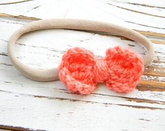 Baby Bow Headband -  Coral Bow Headband - Crochet Bow Headband - Coral Crochet Bow Headband - Nylon Headband