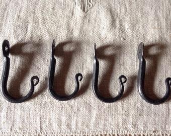 4 Hand Forged Mini Hooks Made by Blacksmith - Coffee Mugs - Towels - Potholders etc.