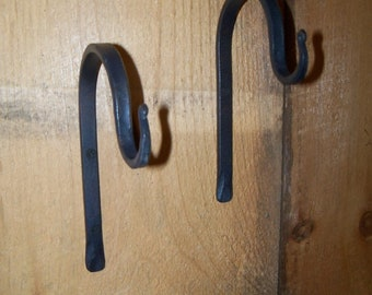 Pair Small Hand Forged Plant Hangers - Windchime Hook
