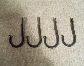 4 Hand Forged Hooks Made by Blacksmith - Hang Pots & Pans - Towels - Baskets etc.