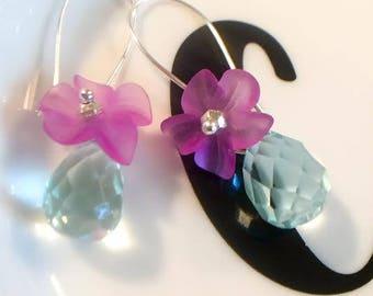 Pale Blue Faceted Drop Flower Earrings