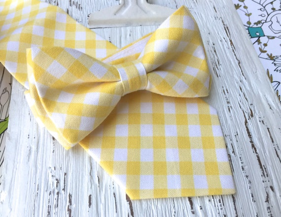 yellow gingham bow, shabby chic wedding, yellow plaid bowtie, baby yellow bow tie,  country wedding, toddler yellow bow tie