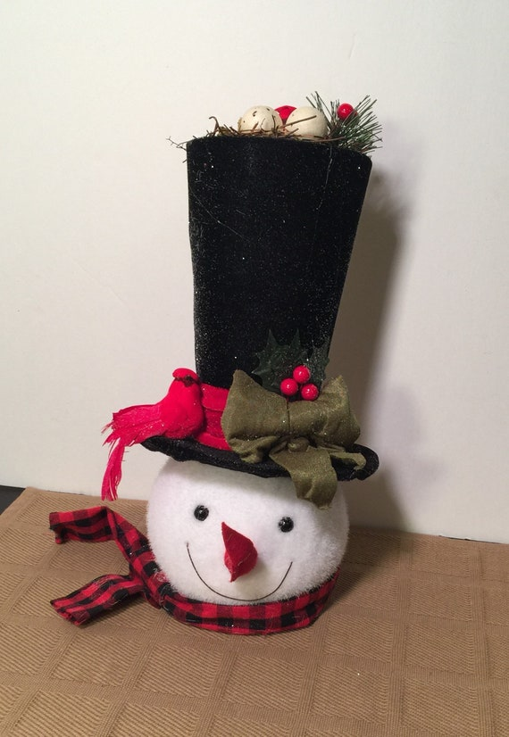 Tree Topper Top Hat Tree Topper Snowman Tree Topper Tall Top Hat Snowman Tree Topper Snowman Tall Top Hat Birds Nest Christmas Decor Cardina