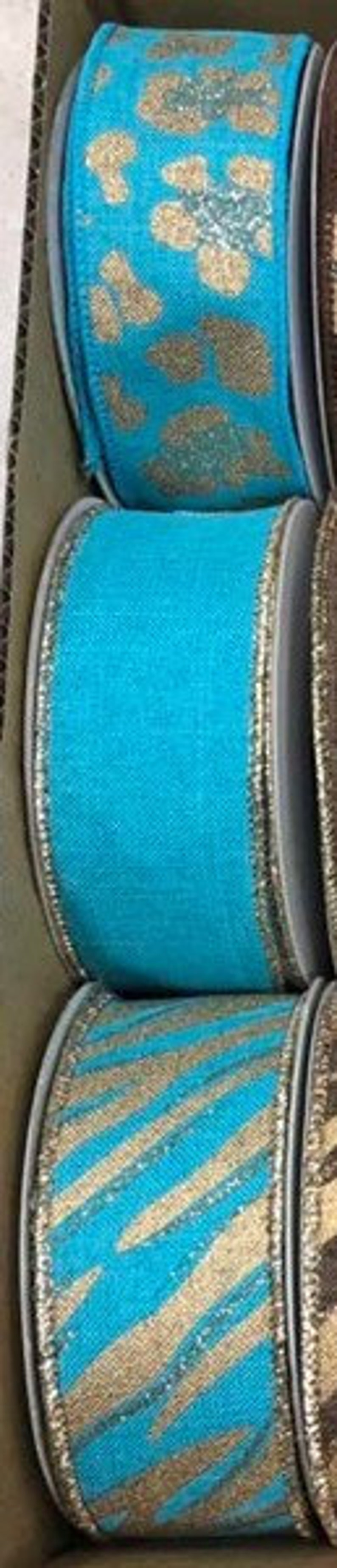 Bright Blue Zebra Glittered Gold and Silver Wired Royal Burlap Ribbon Finished in a Matching Edge 1.5x10 Yd