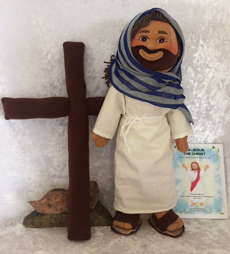 Jesus Doll with Plush Cross~Jesus Picture Bible~Soft Scupture Handmade  Jesus Dolls~Christian~Catholic~Get Well Gifts by Halo Toys