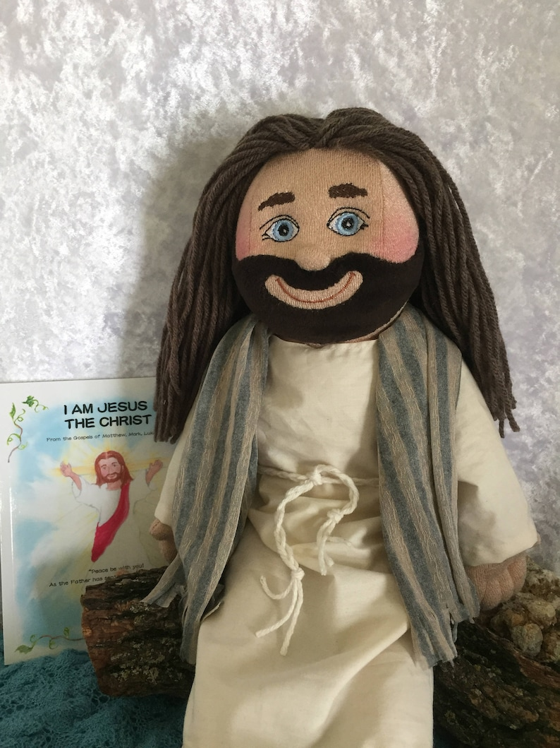 Jesus Doll and Picture Bible SetSoft Cloth Handmade 18 inch image 0