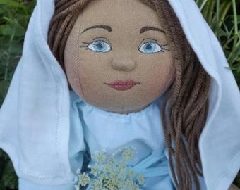 Blessed Virgin Mary Doll, Plush Handmade Doll, Mother Mary Doll, Blessed Mother Doll, Fabric Mary Doll, Catholic Gift, Faith Toy, Rag Dolls