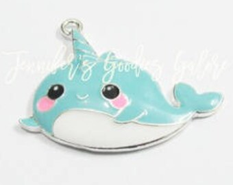 45*35mm, Narwhal Pendant, Enamel Pendants, Blue Narwhal, Ocean Animal Pendants, DIY Necklace, Narwhal Necklace, Wholesale Pendants, 1PC