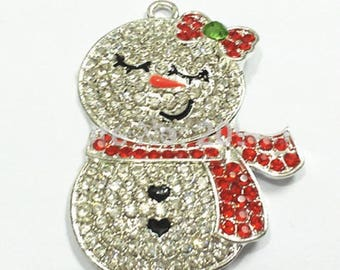 Christmas pendants etsy 4636mm red snowman rhinestone pendant snow girl rhinestone pendants christmas pendant winter chunky bead necklace diy necklace aloadofball Image collections
