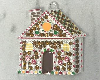 Christmas pendants etsy 4138mm gingerbread house pendant christmas pendant rhinestone pendants gingerbread chunky necklace beads wholesale pendants 718 aloadofball Image collections