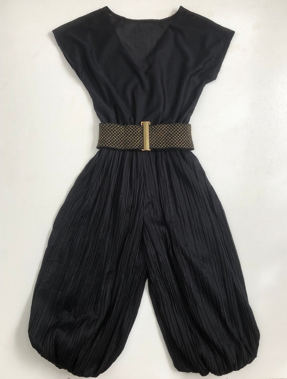 1970s Black Pleated Culotte   Vintage Disco Jumps… - image 2