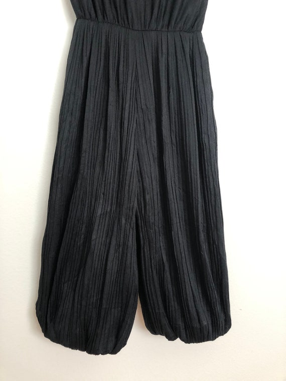 1970s Black Pleated Culotte   Vintage Disco Jumps… - image 6