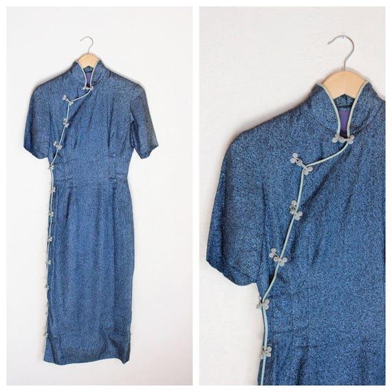1940s Metallic Blue Asian Dress