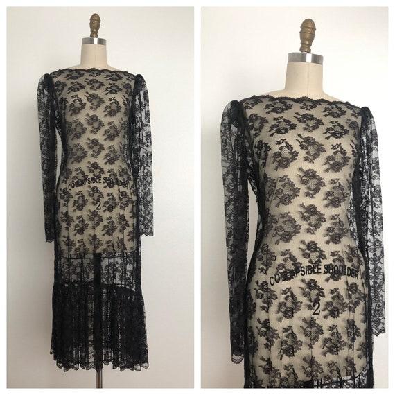 1930s Andalucia Lace Dress | Antique Black Lace Dr