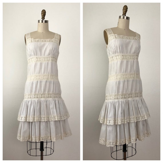 1970s Arezzo White Dress | Vintage Ruffled Summer