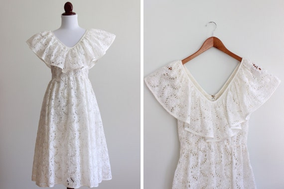 Vintage White Butterfly Eyelet  Dress