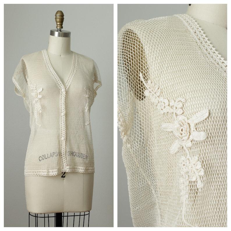 Vintage Crochet Blouse  Bali Top