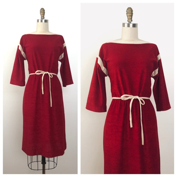 1970s Marena Terry Cloth Dress | Vintage Red Dress