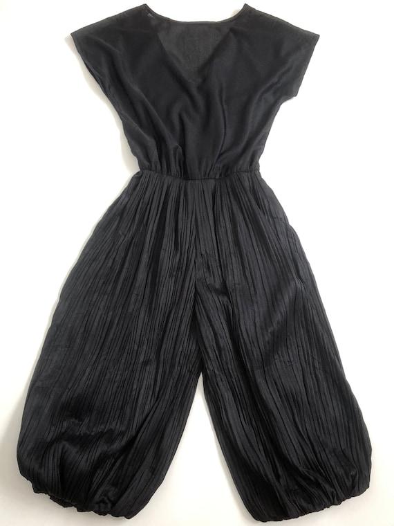 1970s Black Pleated Culotte   Vintage Disco Jumps… - image 5