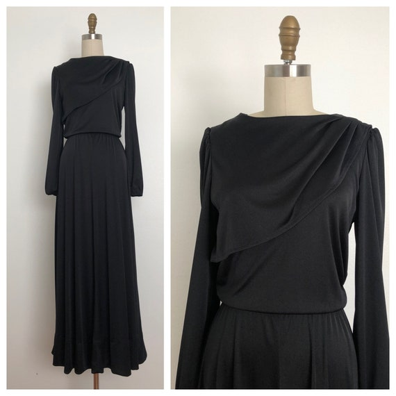 1970s Black Long Evening Dress