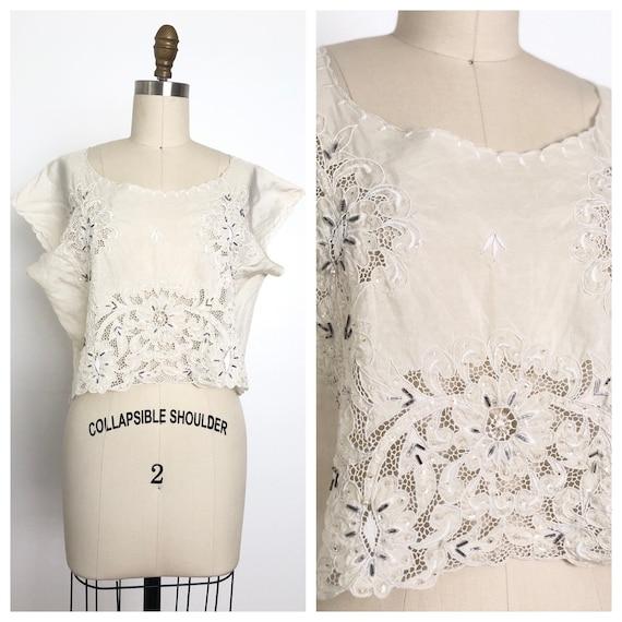 Vintage Trinidad Embroidery Top | Handmade Beaded