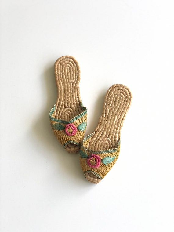 1940s Rosalia Slippers | Antique Woven Slippers