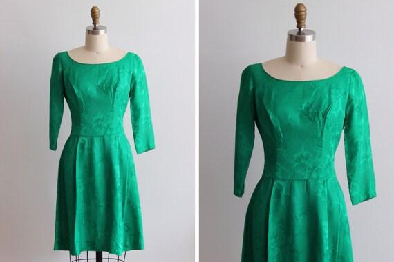 1950s Emerald Green Brocade Cocktail Dress