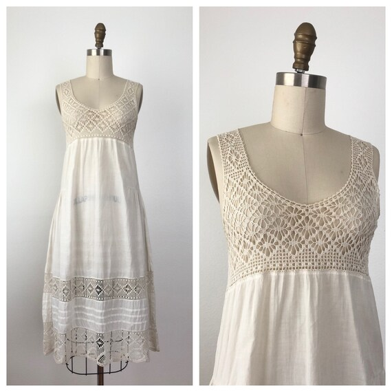 1920s Crochet Dress | Antique Nightgown