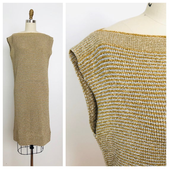 1970s Metallic Goldworm Dress / Vintage Gold Dress