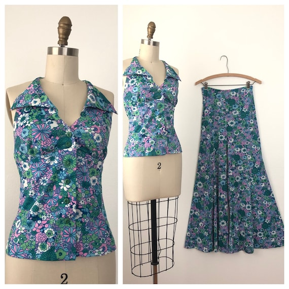 1960s Floral MOD set | Vintage Top and Pants set