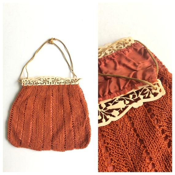 1930s Toasted Orange Crochet Handbag