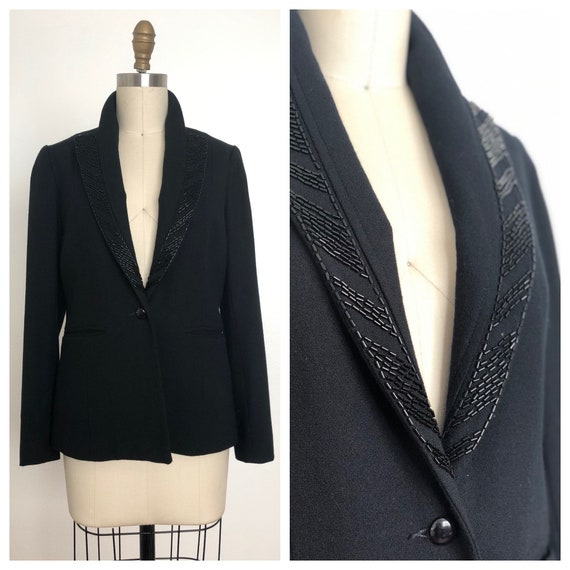 Vintage Black Wool Blazer | Beaded Blazer