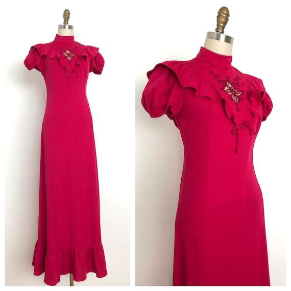1970s Vonet Fuchsia Maxi Dress