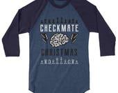 Chess Christmas Shirt, Checkmate Christmas 3 4 sleeve raglan shirt, Brain and Lightning Bolts Chess Player Shirt, 3 4 sleeve shirt