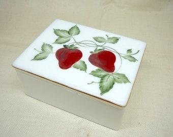 Milk Glass Trinket Box Strawberries Hand Painted