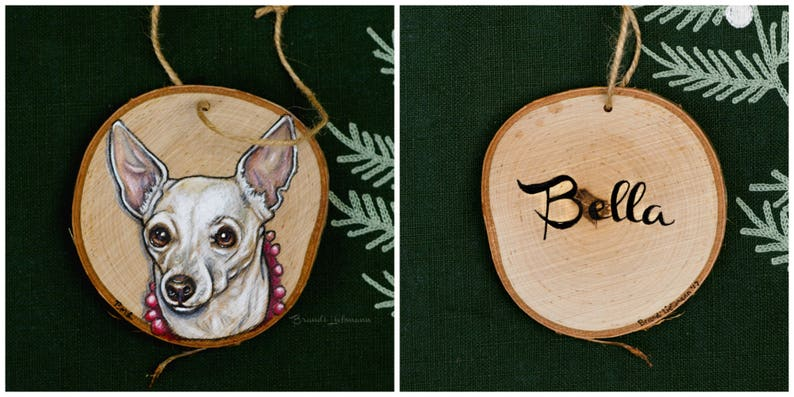 Personalized 4-5 Pet Portrait Pet Memorial Furbaby Gift Made With Love Colored Pencil Painting Loving Memory Custom Dog Ornament