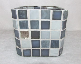 Mosaic Candle Holder - Silver/Gray  Glass