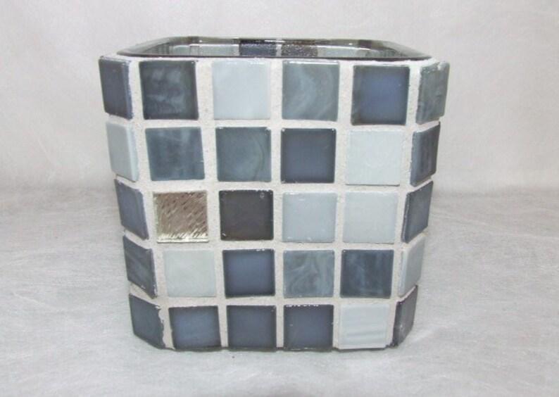 Silber grau glas mosaik kerzenständer kerzenhalter aus glas etsy
