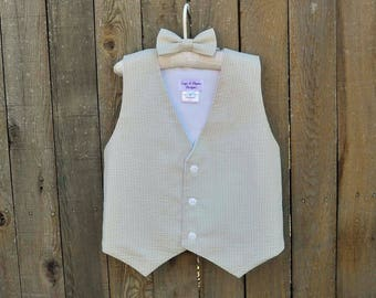 63c6bbf98a8 Boys Seersucker Vest and Bowtie